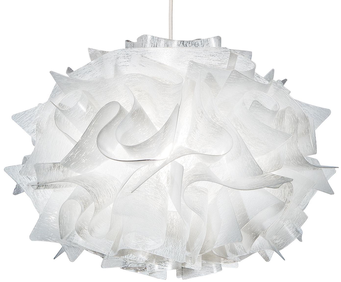 Handgemaakte design hanglamp Veli Mini, Technopolymeer Opalflex®, recyclebaar, onbreekbaart, flexibel, anti-statisch gecoat, UV- en hittebestendig, Wit, Ø 32 x H 22 cm