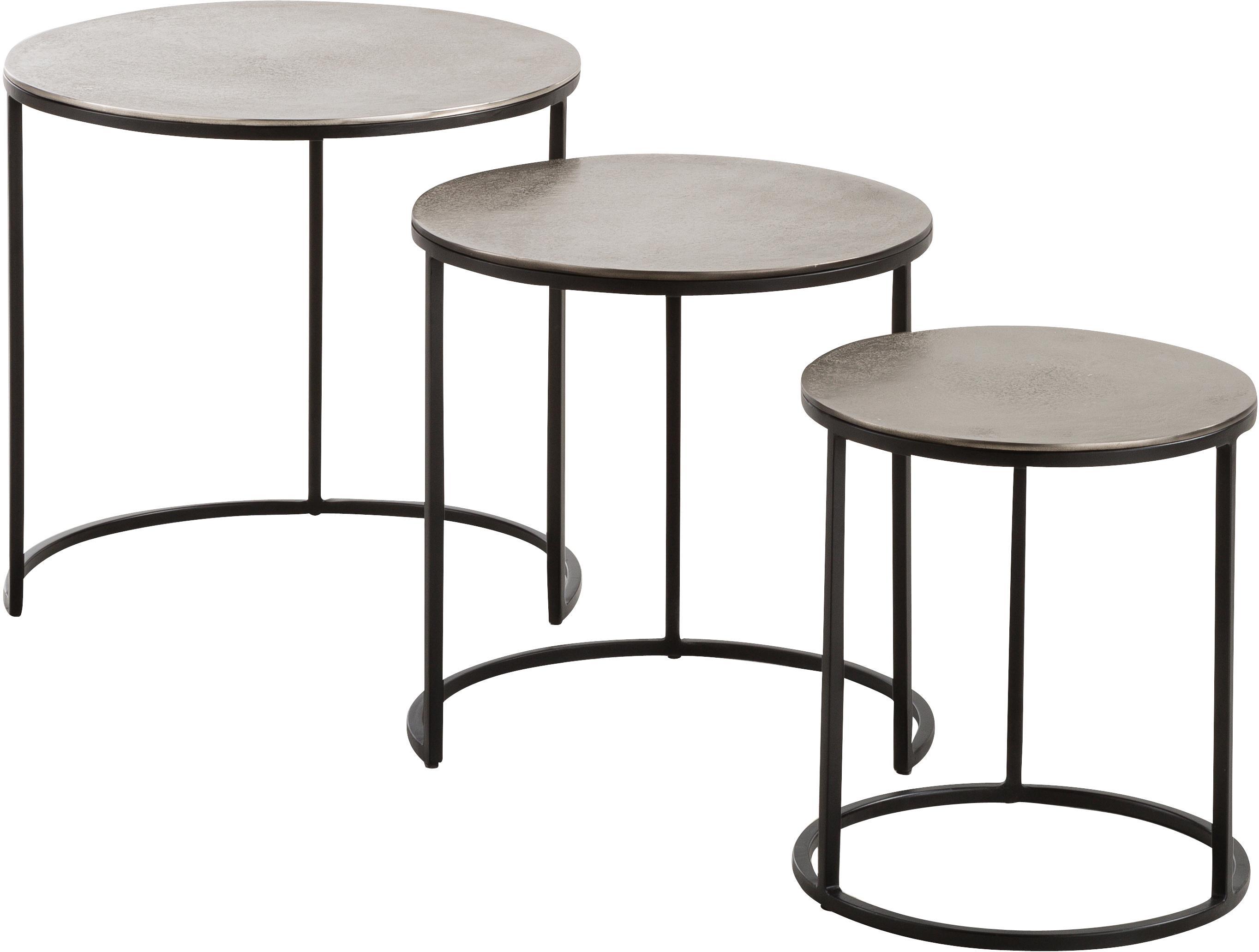 Set 3 tavolini con piano argentato Scott, Piano d'appoggio: alluminio rivestito, Struttura: metallo verniciato, Alluminio, nero, Set in varie misure