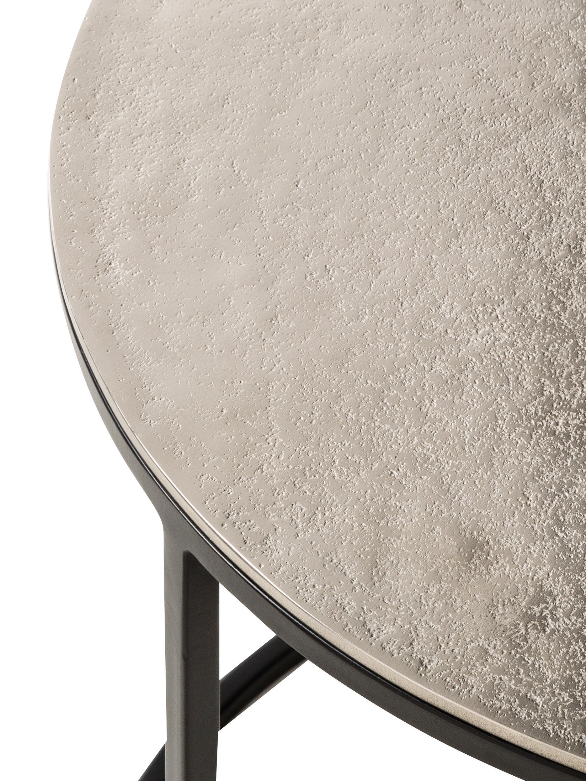 Beistelltisch 3er-Set Scott mit silberner Platte, Silber, Schwarz, Sondergrößen