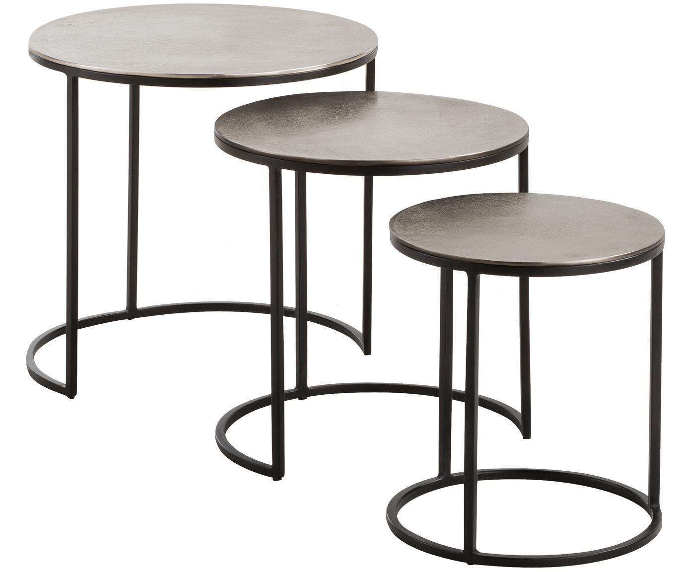 Set 3 tavolini con piano argentato Scott, Piano d'appoggio: alluminio rivestito, Struttura: metallo verniciato, Alluminio, nero, Diverse dimensioni