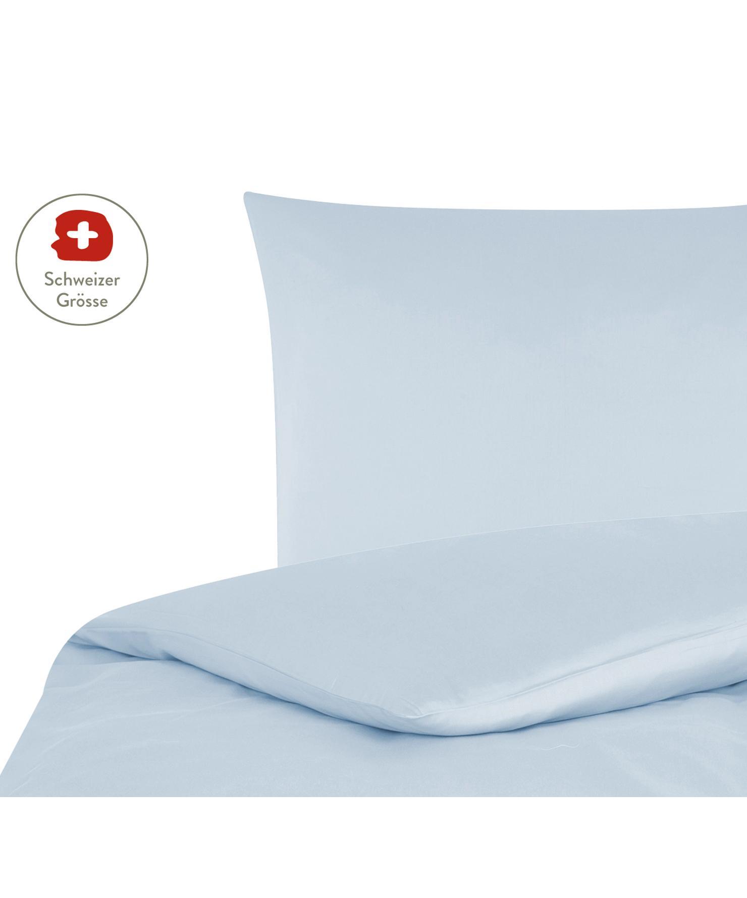 Baumwollsatin-Bettdeckenbezug Comfort in Hellblau, Webart: Satin, leicht glänzend Fa, Hellblau, 160 x 210 cm
