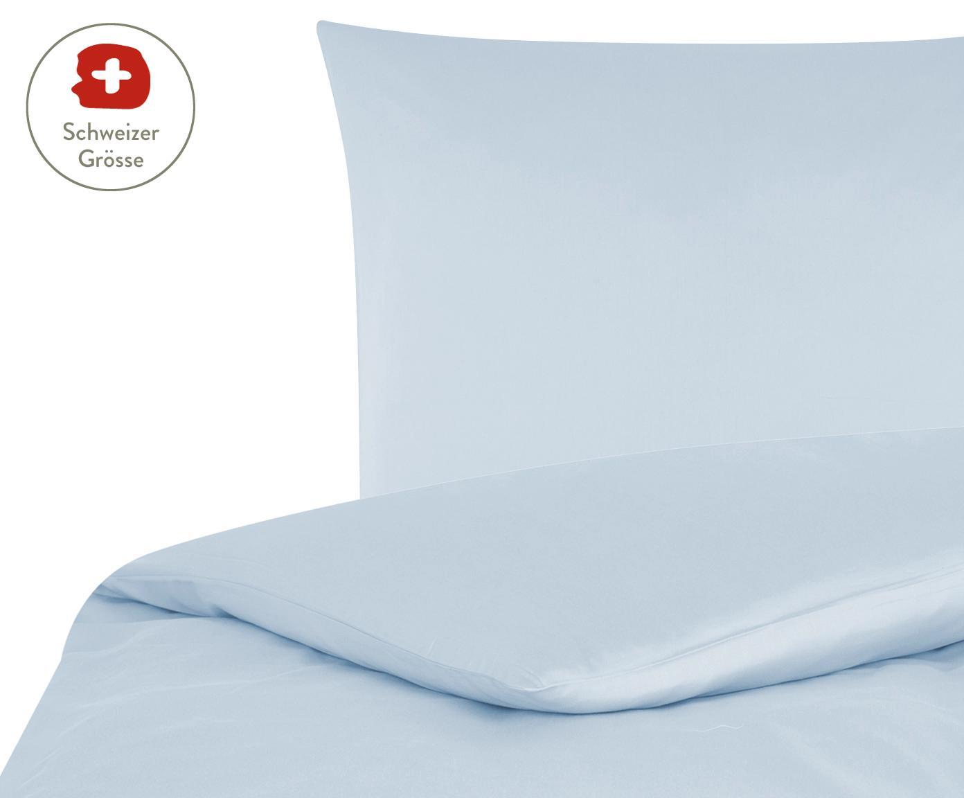 Baumwollsatin-Bettdeckenbezug Comfort in Hellblau, Webart: Satin, leicht glänzend, Hellblau, 160 x 210 cm