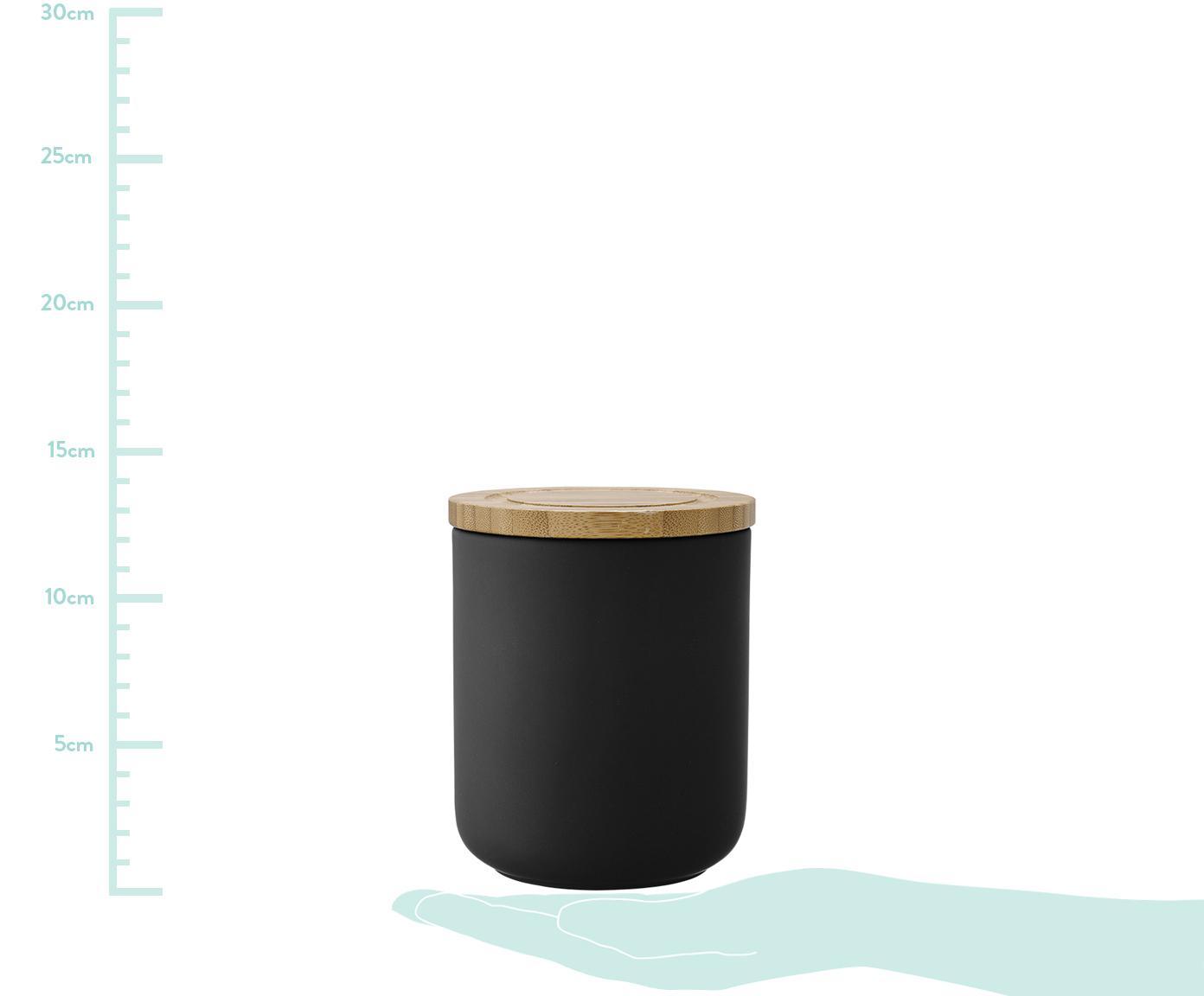 Aufbewahrungsdose Stak, Dose: Keramik, Deckel: Bambusholz, Schwarz, Bambus, Ø 10 x H 17 cm