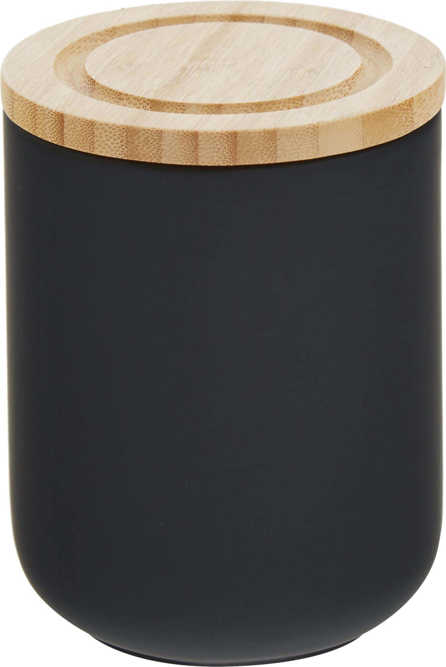 Aufbewahrungsdose Stak, Dose: Keramik, Deckel: Bambusholz, Schwarz, Bambus, Ø 10 x H 13 cm