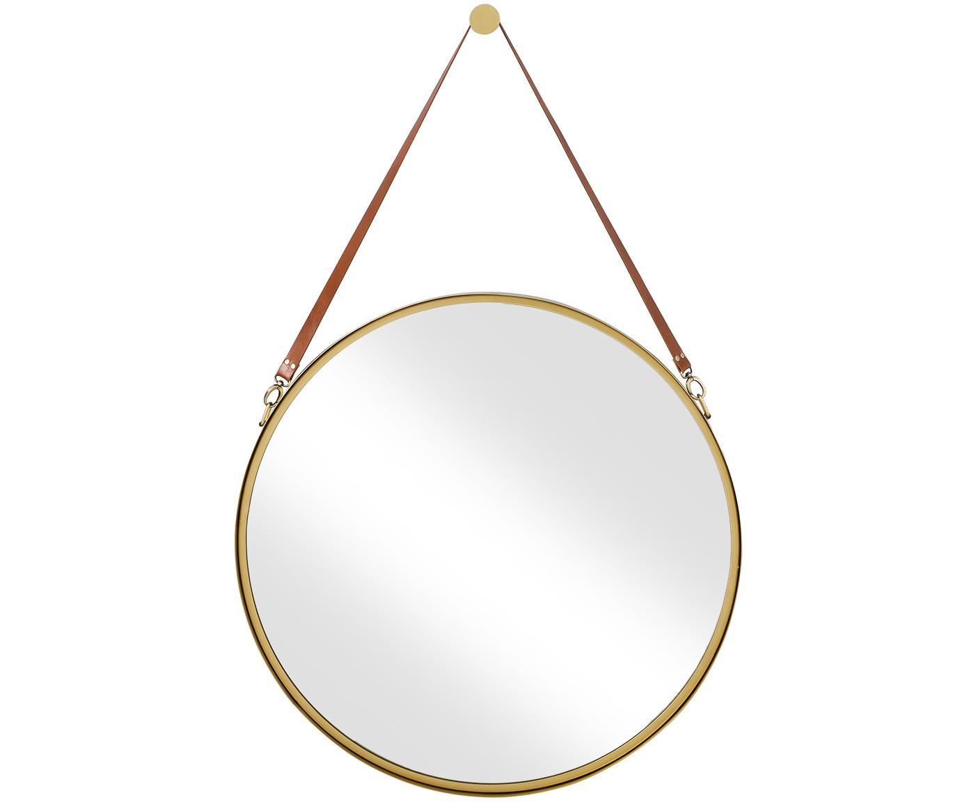 Espejo de pared redondo Liz, con correa de cuero, Espejo: cristal, Dorado, Ø 80 cm