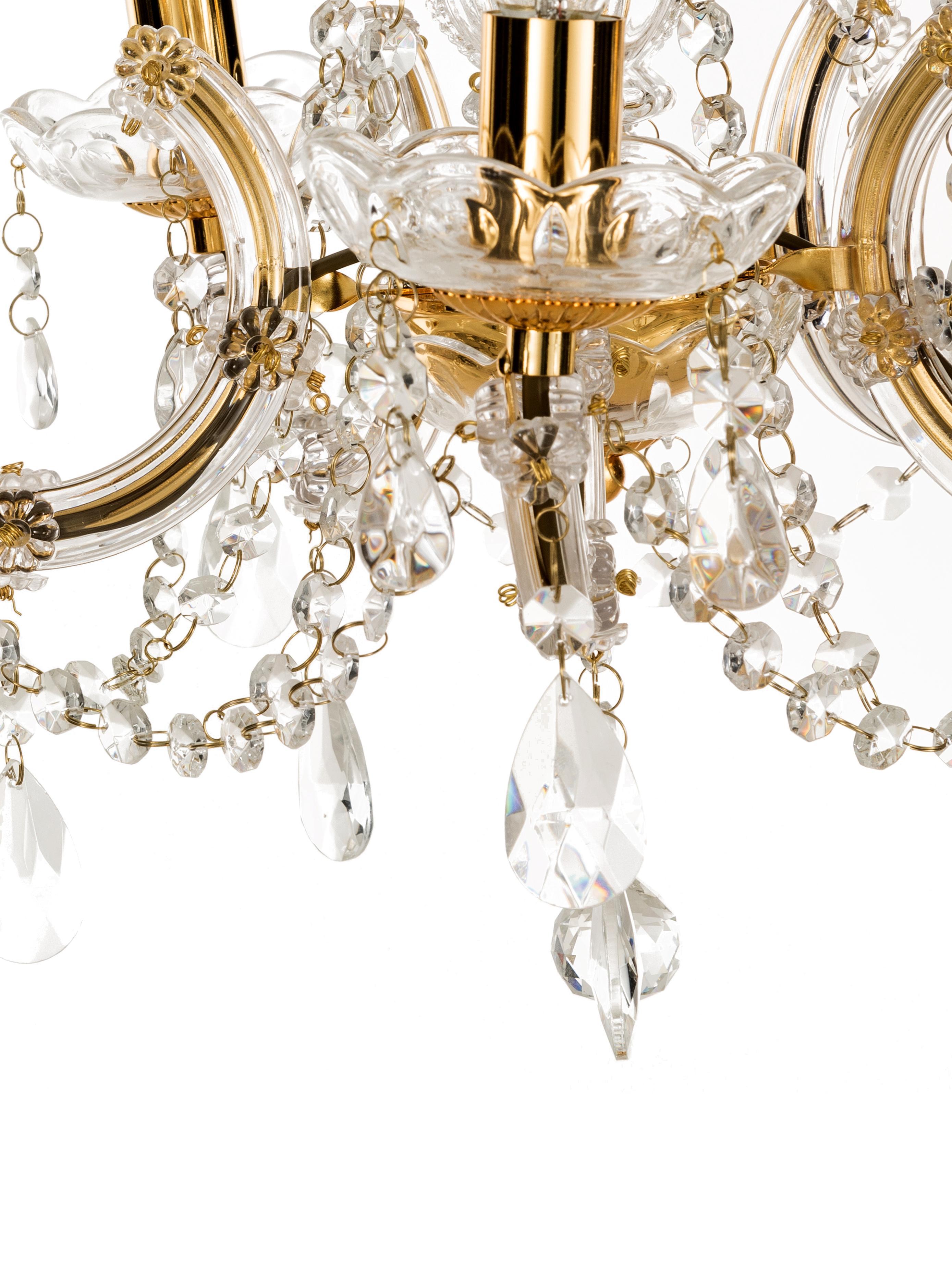 Żyrandol Marie Therese, Odcienie złotego, transparentny, Ø 48 x W 32 cm