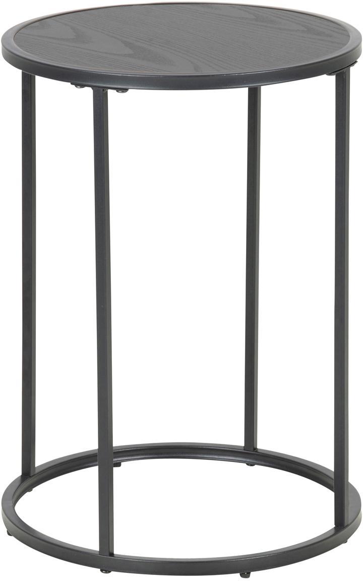 Mesa auxiliar redonda Seaford, Tablero: tablero de fibras de dens, Patas: metal con pintura en polv, Negro, Ø 40 x Al 55 cm