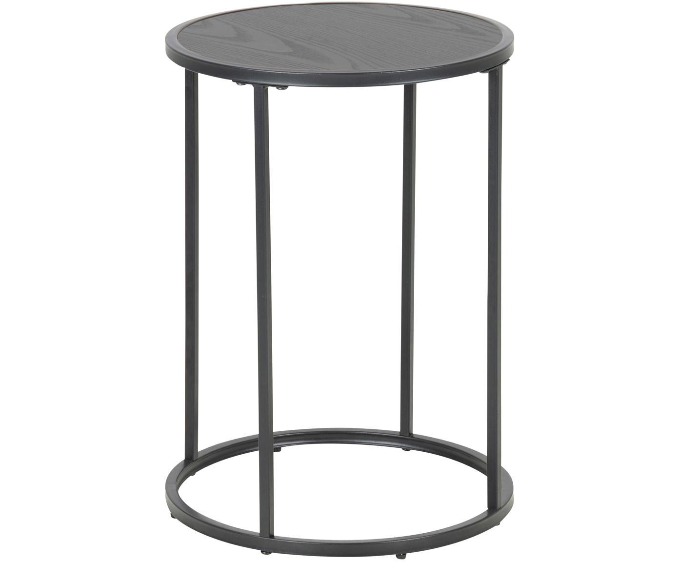 Tavolino d'appoggio Seaford, Pannello di fibra a media densità (MDF), melamina, metallo verniciato a polvere, Nero, Ø 40 x Alt. 55 cm