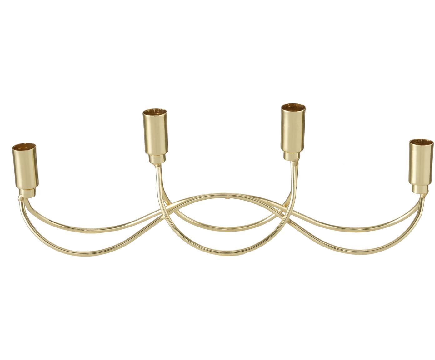 Świecznik Tapino, Metal malowany proszkowo, Odcienie złotego, S 39 x W 13 cm