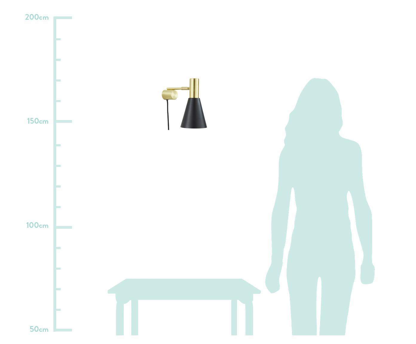 Applique con spina Sia, Paralume: Metallo verniciato a polv, Nero, ottonato, Ø 13 x Alt. 27 cm