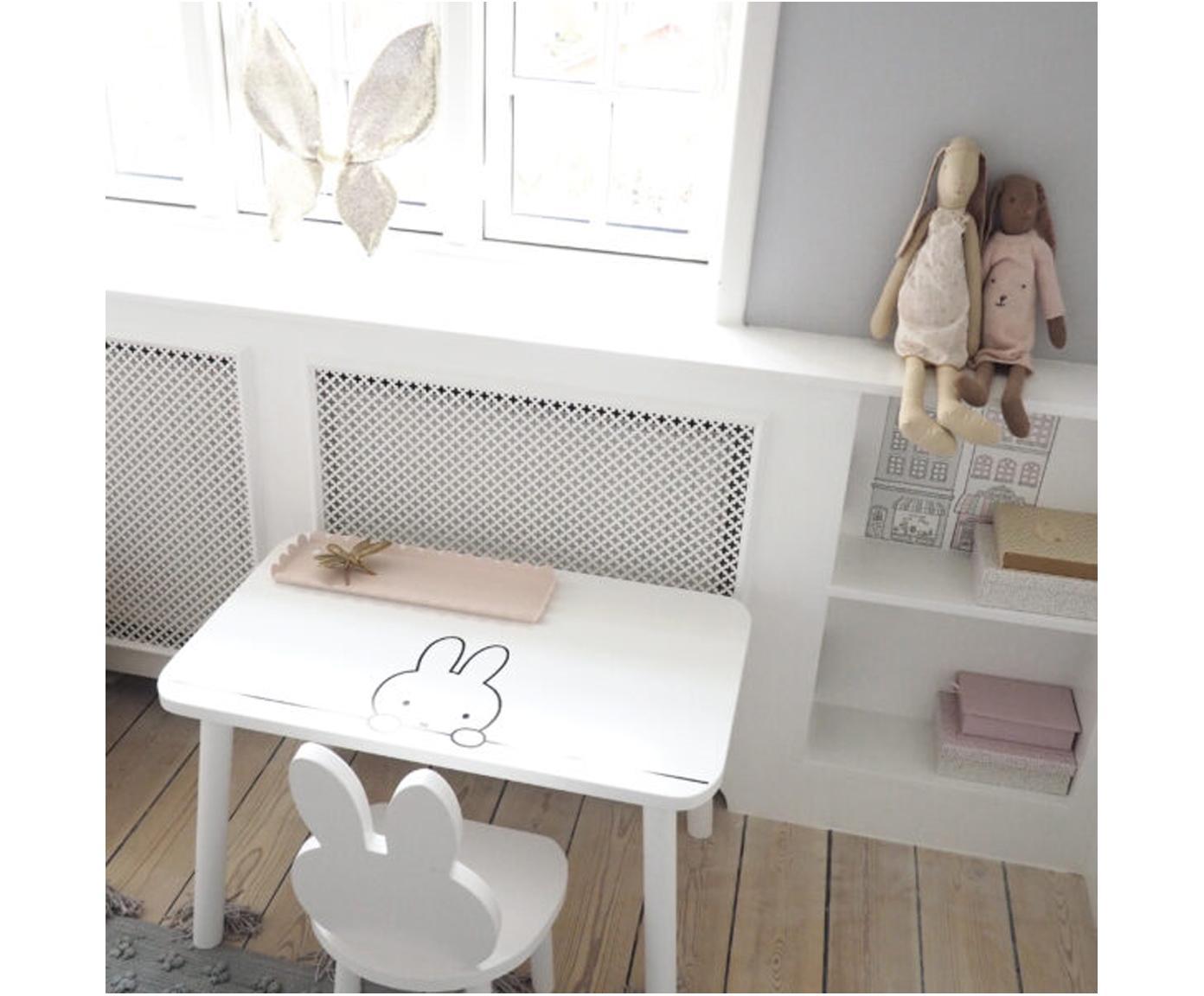 Kindertisch Miffy, Tischplatte: Mitteldichte Holzfaserpla, Beine: Kiefernholz, Weiss, Schwarz, 75 x 45 cm