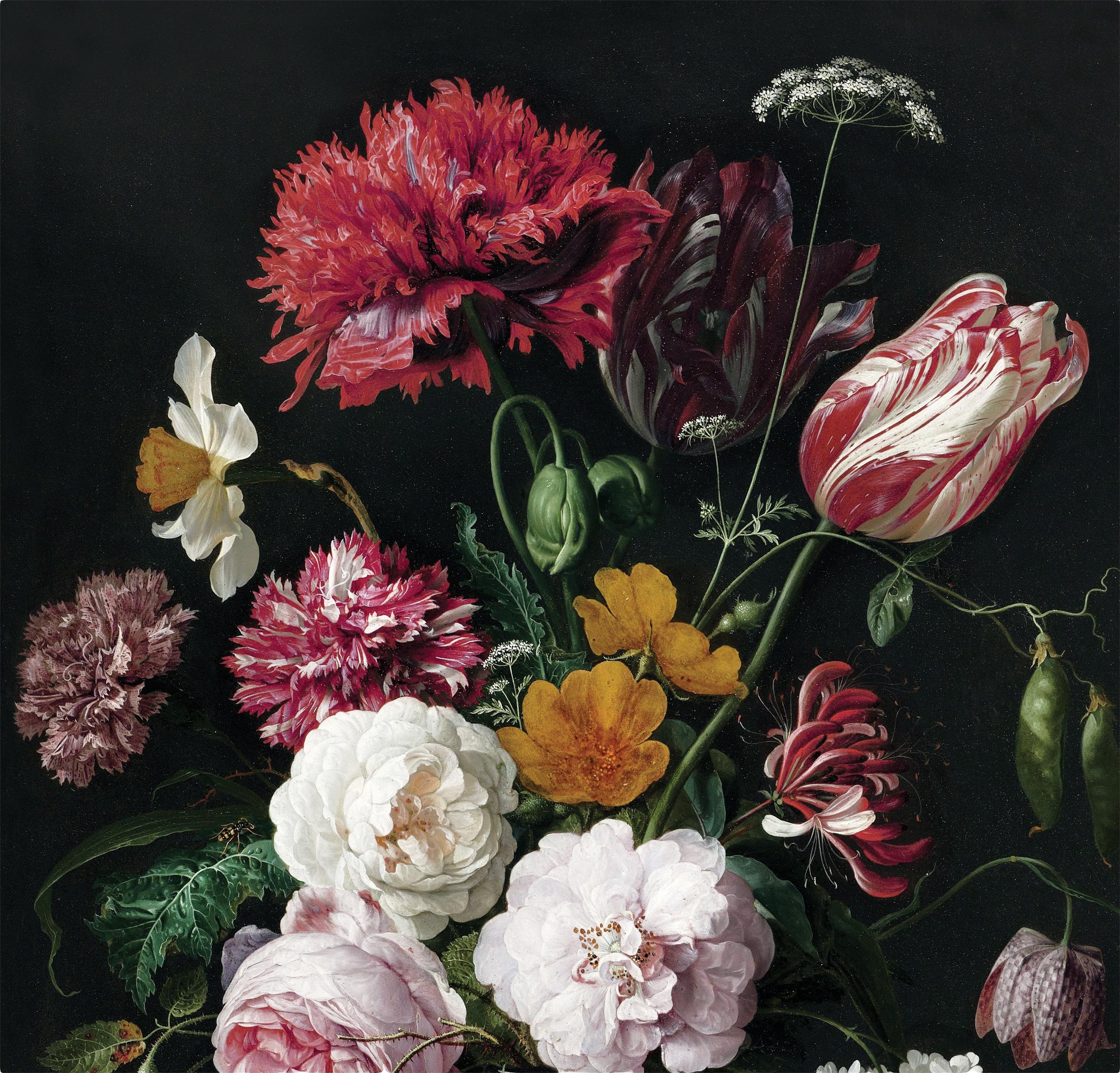 Fototapete Golden Age Flowers, Vlies, umweltfreundlich und biologisch abbaubar, Mehrfarbig, matt, 292 x 280 cm