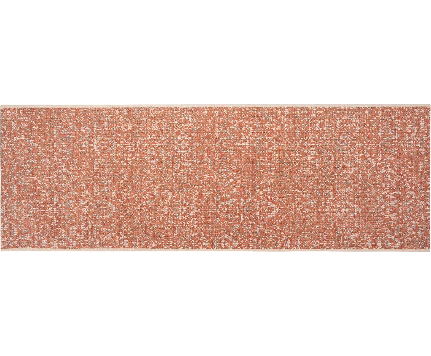 In- en outdoor loper Hatta in Vintage Look, Polypropyleen, Oranje rood, beige, 70 x 200 cm