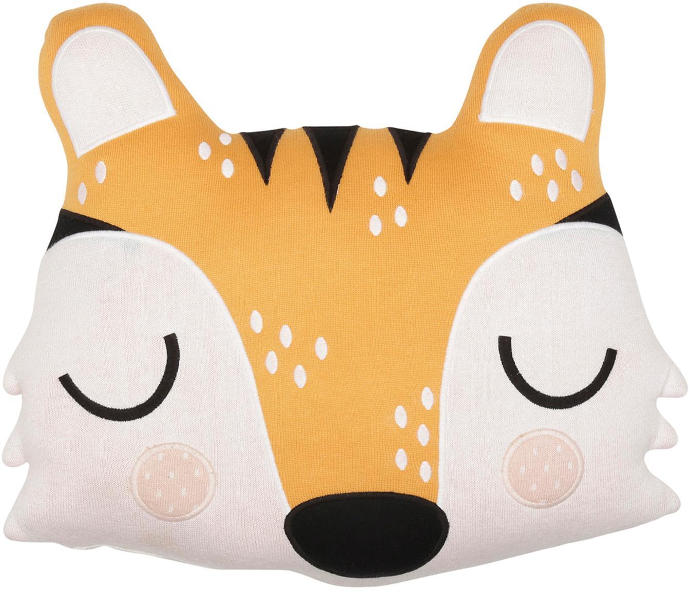 Kuschelkissen Tiger Theo aus Bio-Baumwolle, Bio-Baumwolle, GOTS-zertifiziert, Orange, Creme, Schwarz, 40 x 45 cm