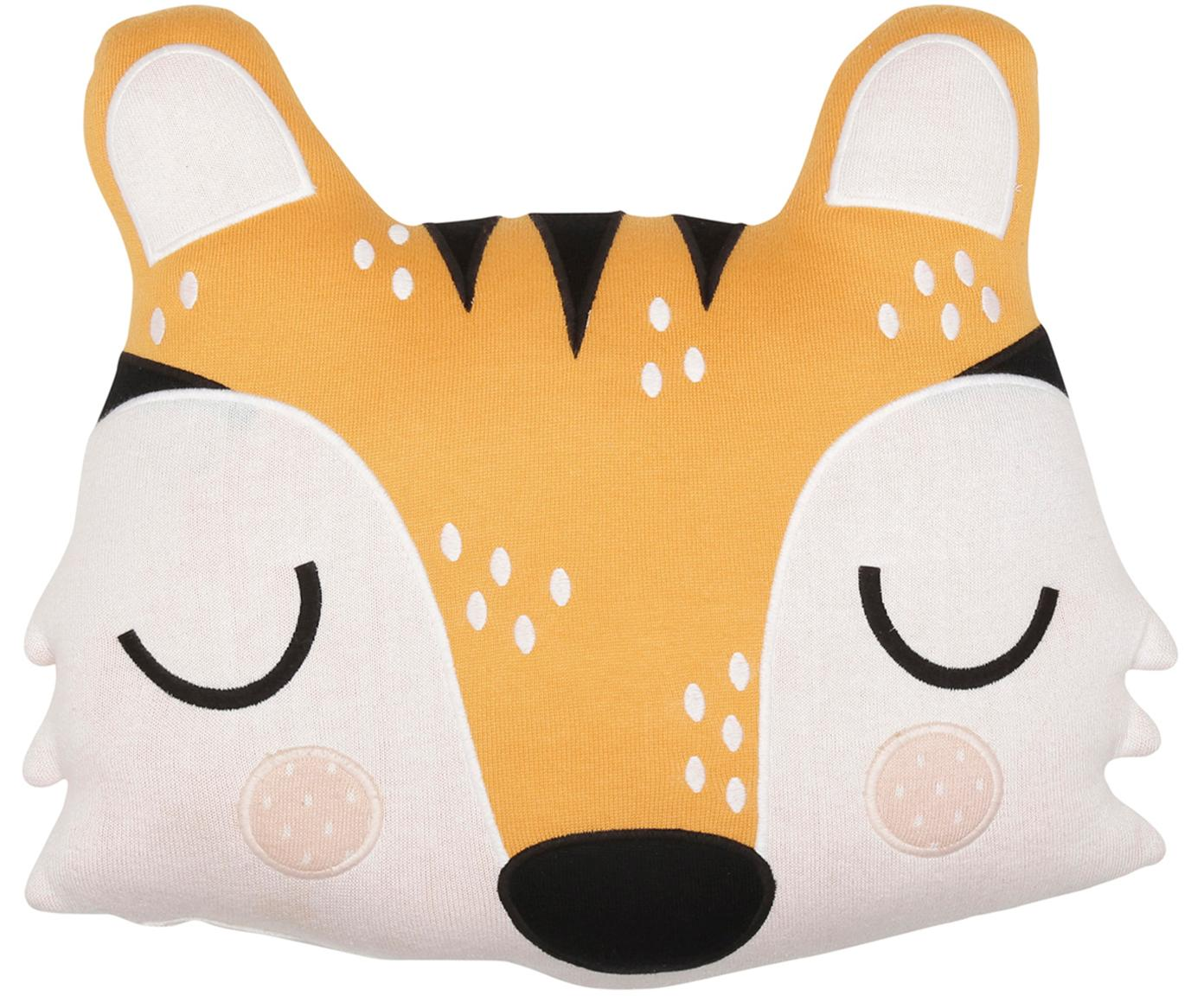 Cojín peluche de algodón ecológico Tiger Theo, Algodón ecológico, certificado GOTS, Naranja, crema, negro, An 40 x L 45 cm
