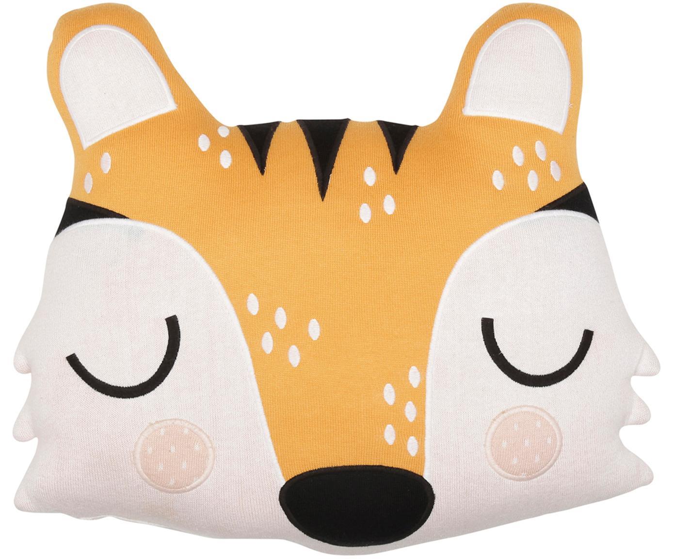 Poduszka do przytulania z bawełny organicznej Tiger Theo, Bawełna organiczna, certyfikat GOTS, Pomarańczowy, kremowy, czarny, S 40 x D 45 cm