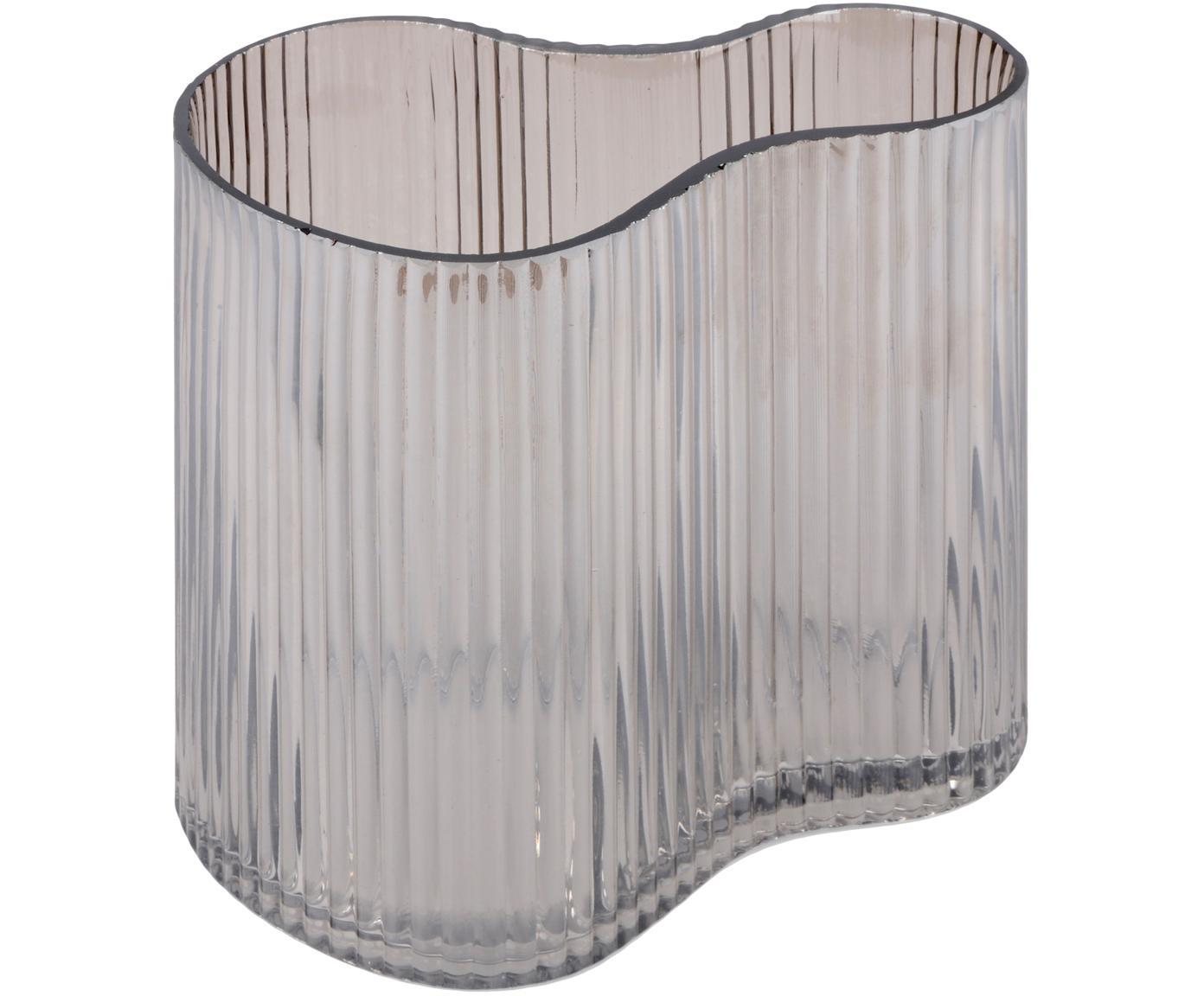 Kleine Glasvase Gloria mit Rillenmuster, Glas, Grau, 18 x 12 cm