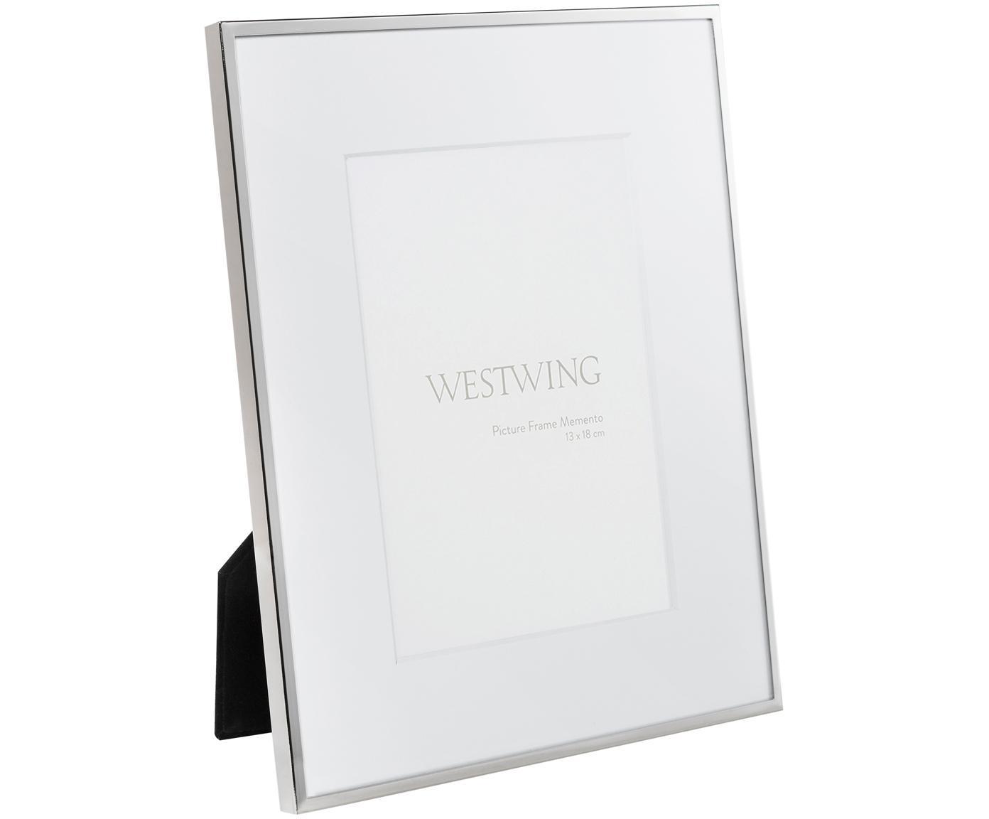 Cornice da tavolo in metallo Memento, Cornice: metallo nichelato, Retro: legno, velluto, Argento, 13 x 18 cm