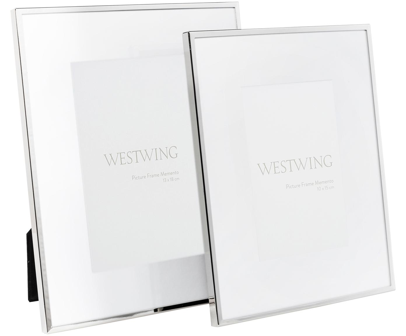 Fotolijstje Memento, Frame: vernikkeld metaal, Zilverkleurig, 10 x 15 cm