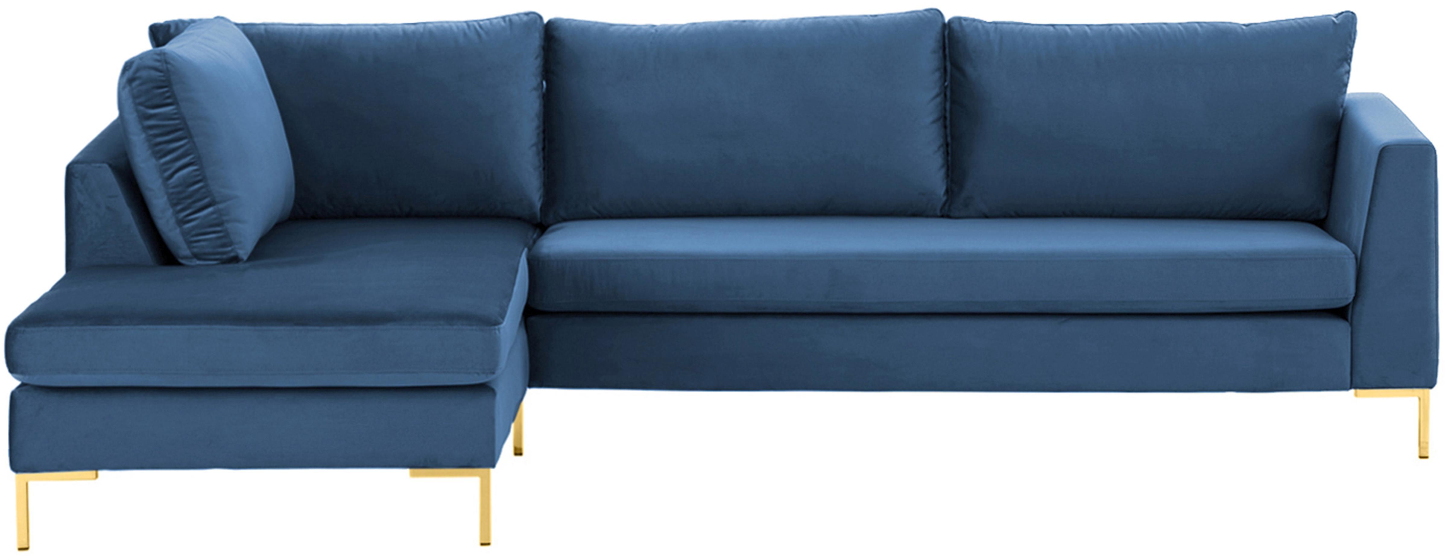 Samt-Ecksofa Luna, Bezug: Samt (Polyester) Der hoch, Gestell: Massives Buchenholz, Samt Blau, Gold, B 280 x T 184 cm