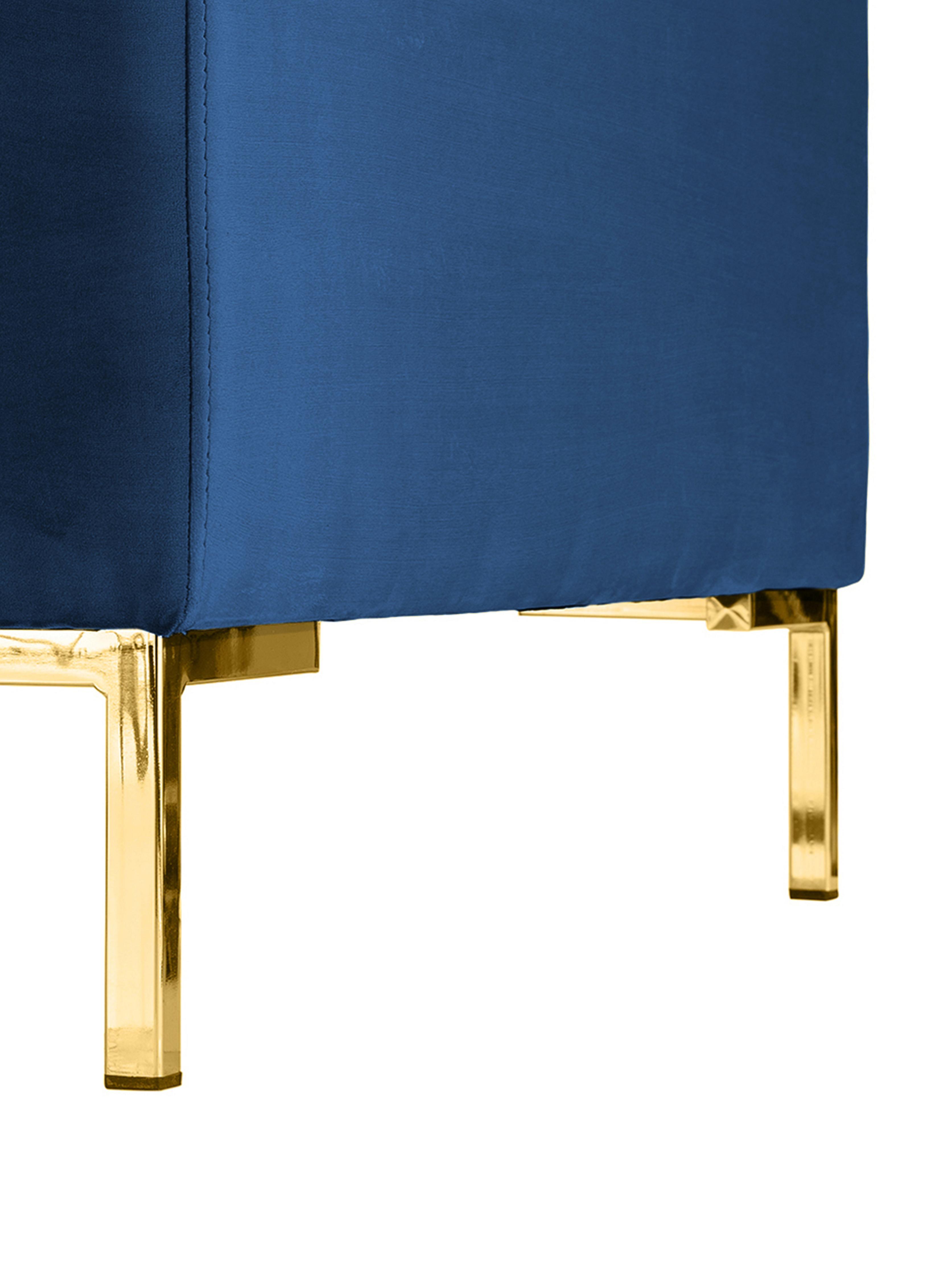 Samt-Ecksofa Luna, Bezug: Samt (Polyester) Der hoch, Gestell: Massives Buchenholz, Füße: Metall, galvanisiert, Samt Blau, Gold, B 280 x T 184 cm