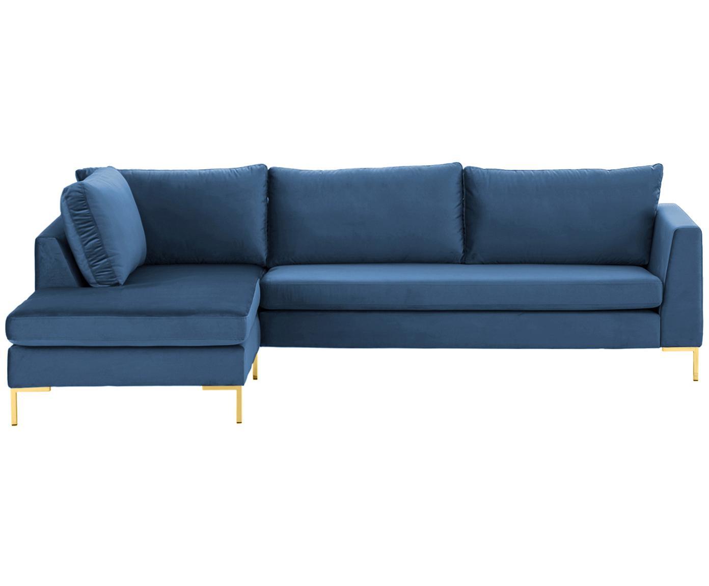 Sofa narożna z aksamitu Luna, Tapicerka: aksamit (100% poliester) , Stelaż: lite drewno bukowe, Nogi: metal galwanizowany, Aksamitny niebieski, złoty, S 280 x G 184 cm