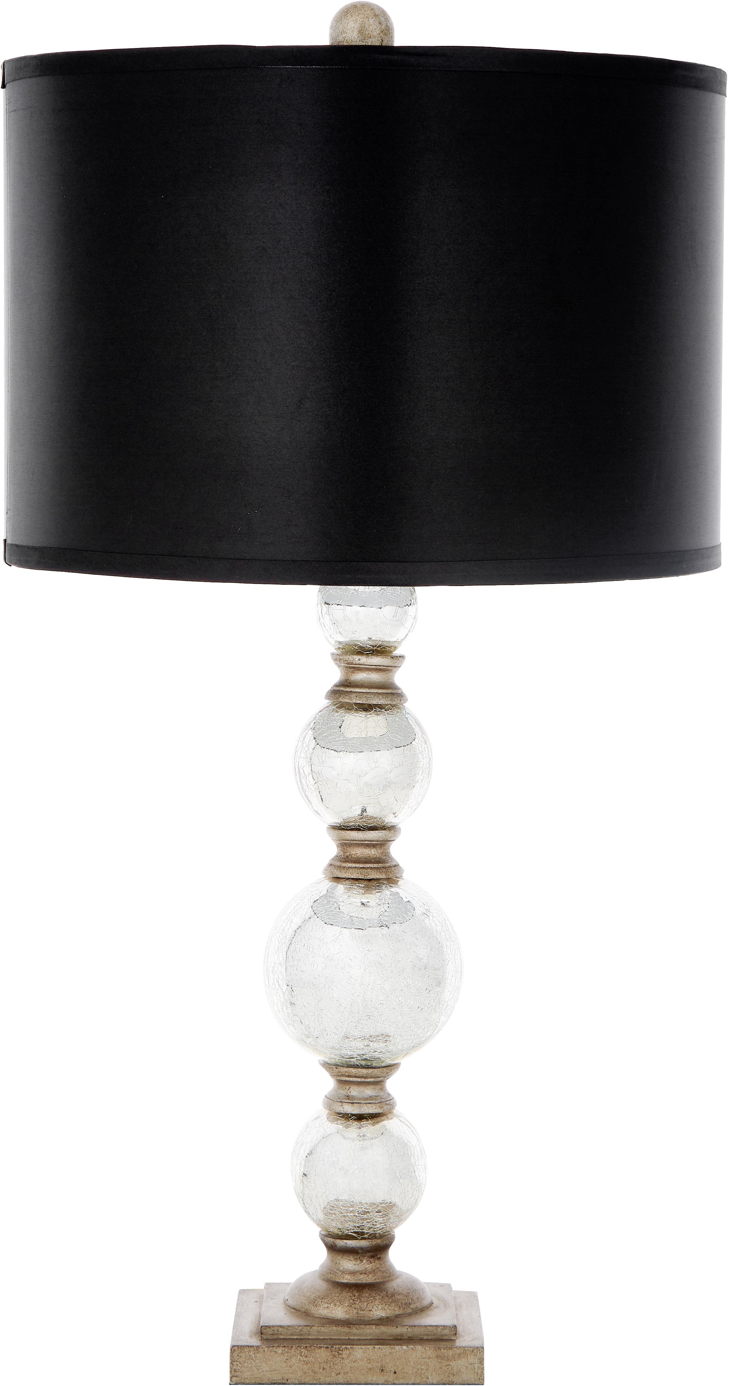 Große Tischlampen Balls, 2 Stück, Lampenschirm: Textil (Polyesterbezug), Lampenfuß: Glas, Schwarz,Silber, Ø 35 x H 75 cm