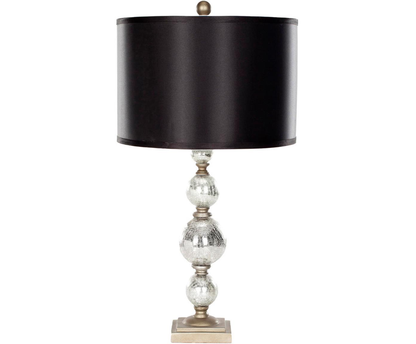 Große Tischleuchten Balls, 2 Stück, Lampenschirm: Textil (Polyesterbezug), Lampenfuß: Glas, Schwarz,Silber, Ø 35 x H 75 cm