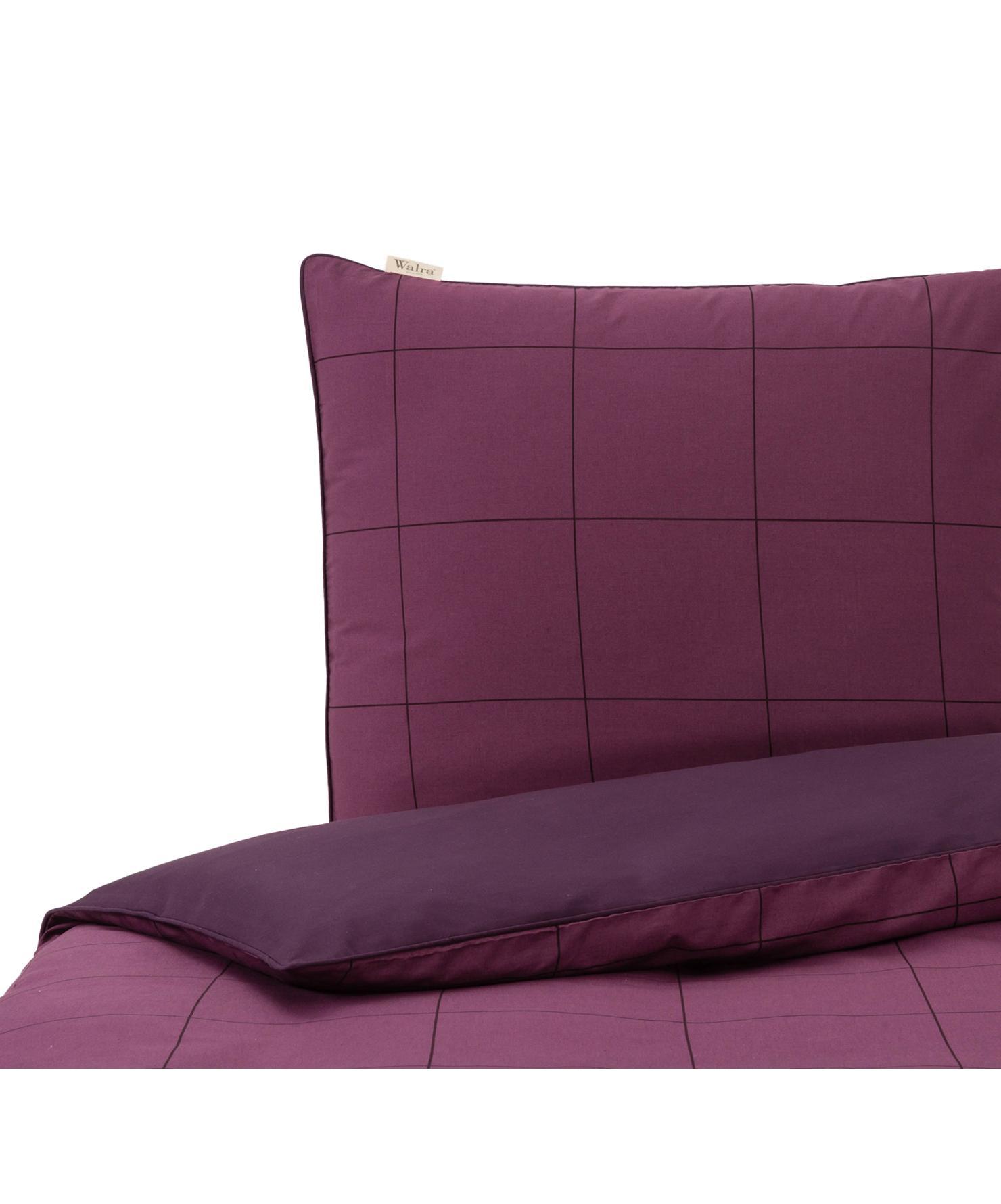 Dubbelzijdig renforcé dekbedovertrek Square Feet, Weeftechniek: renforcé, Bovenzijde: lila, violet. Onderzijde en bies: violet, 240 x 220 cm
