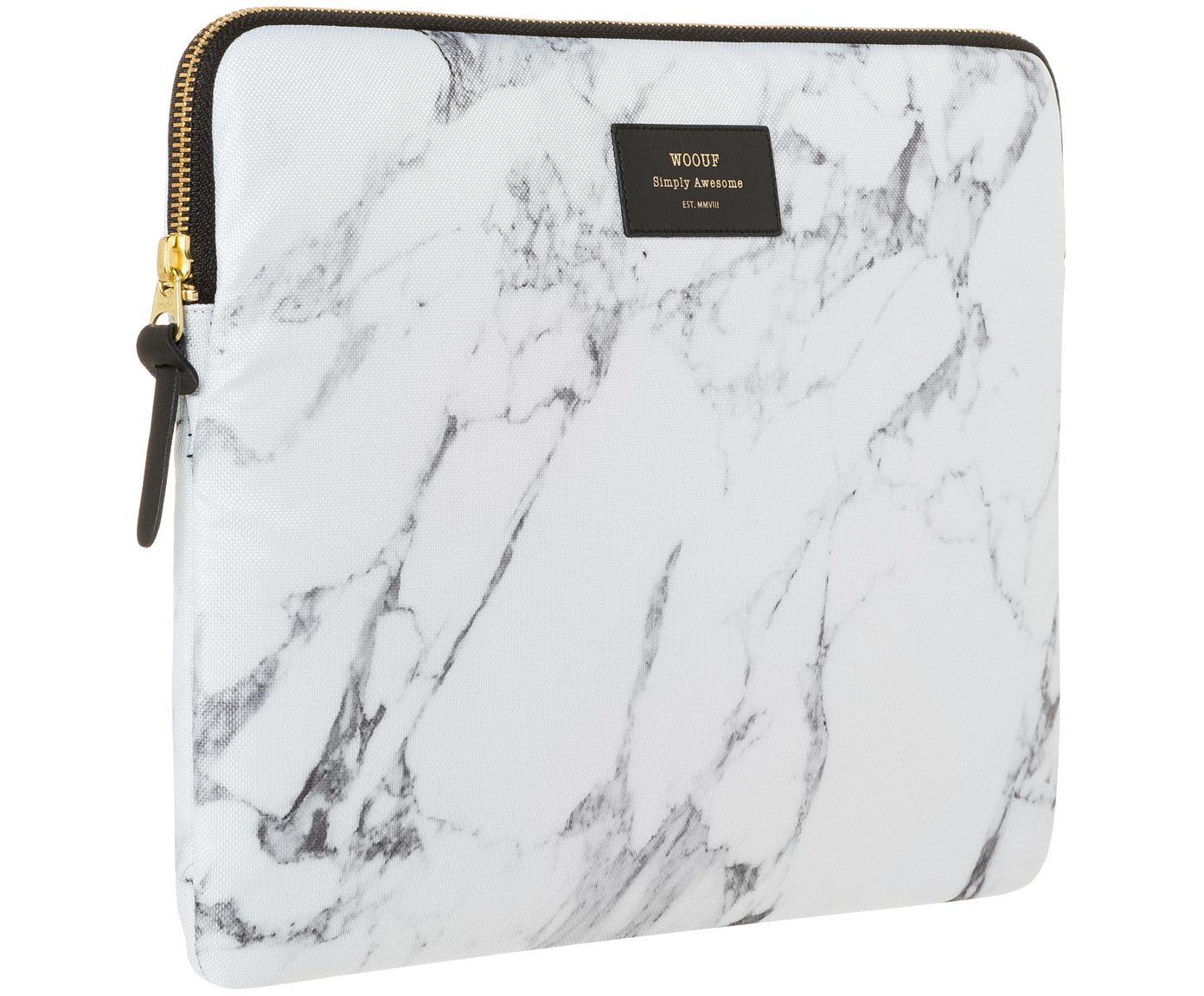 Copertina Marble per MacBook Pro 13 pollici, Laptop case: bianco, marmo<br>Sovrastampa: nero con carattere dorato, Larg. 34 x Alt. 25 cm