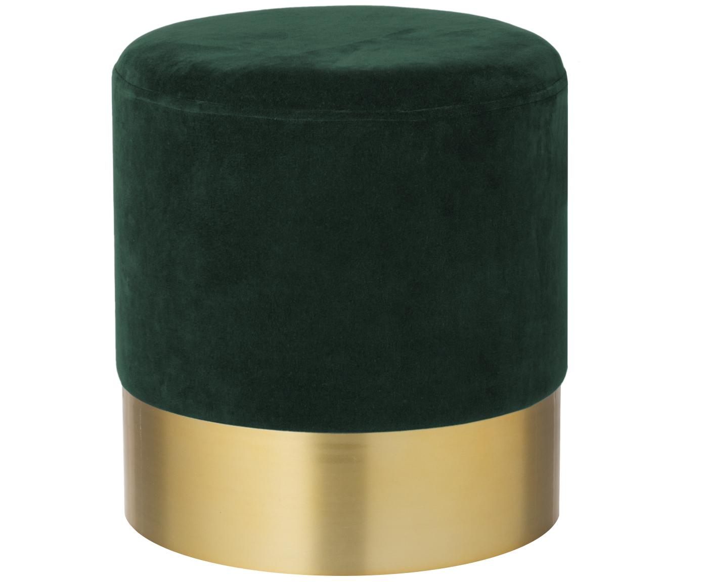 Samt-Hocker Harlow, Bezug: Baumwollsamt, Dunkelgrün, Goldfarben, Ø 38 x H 42 cm