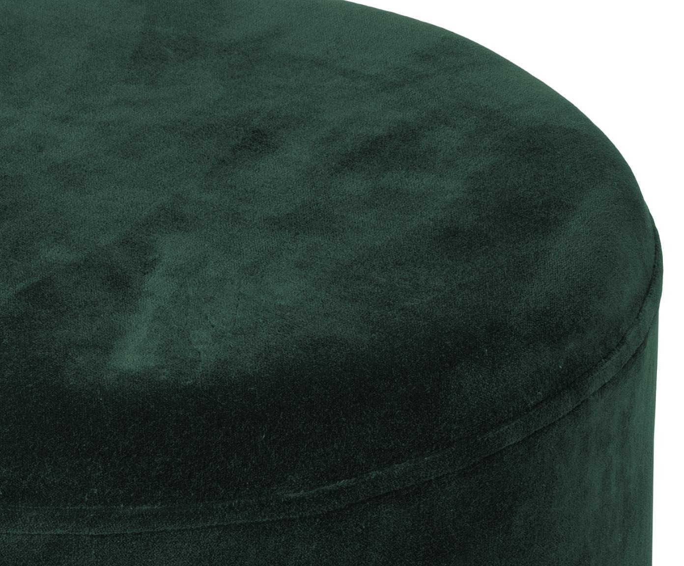 Puf z aksamitu Harlow, Tapicerka: aksamit bawełniany, Ciemnyzielony, odcienie złotego, Ø 38 x W 42 cm