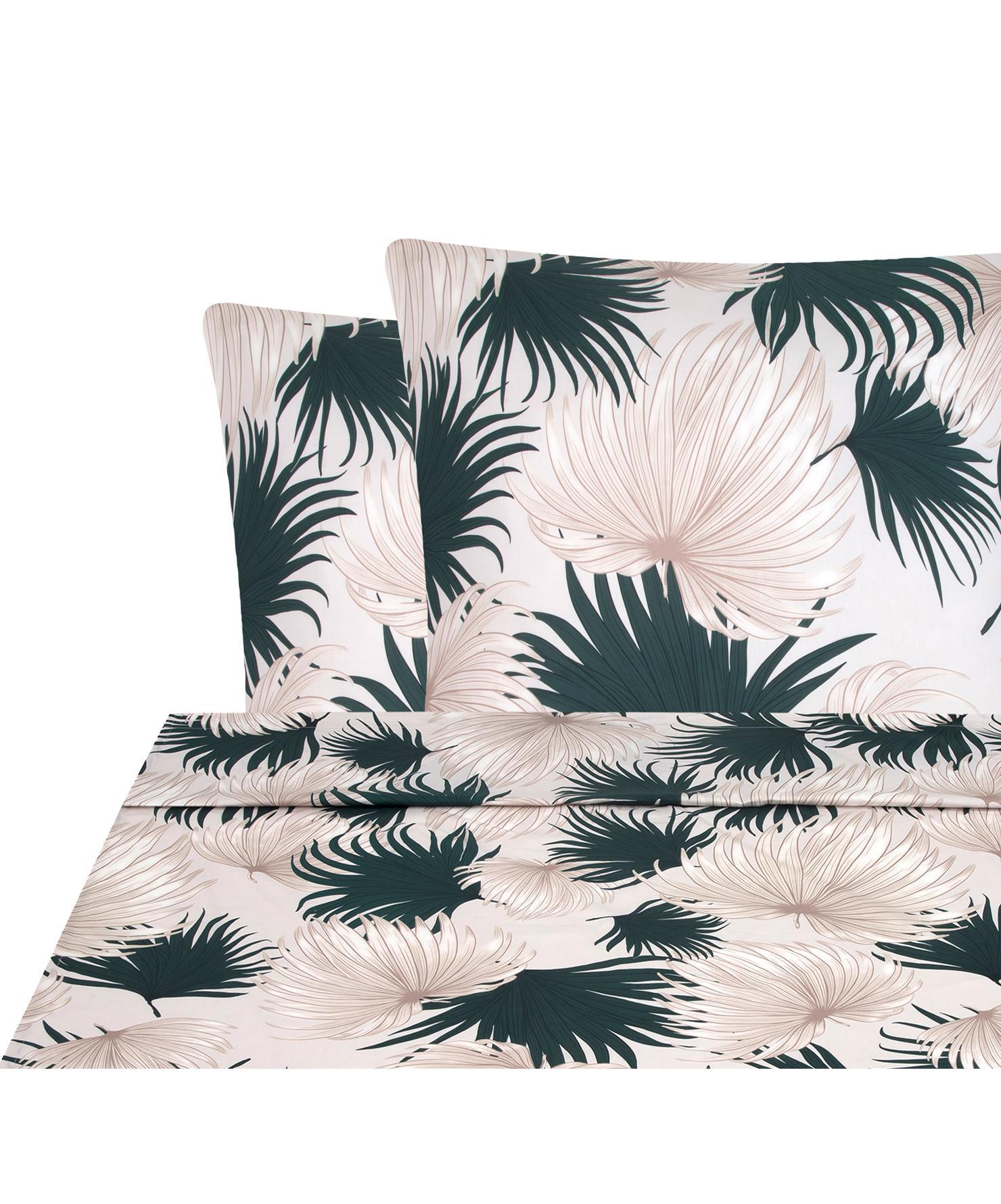 Set lenzuola in raso di cotone Aloha 2 pz, Tessuto: raso, Fronte: beige, verde Retro: beige, 240 x 300 cm