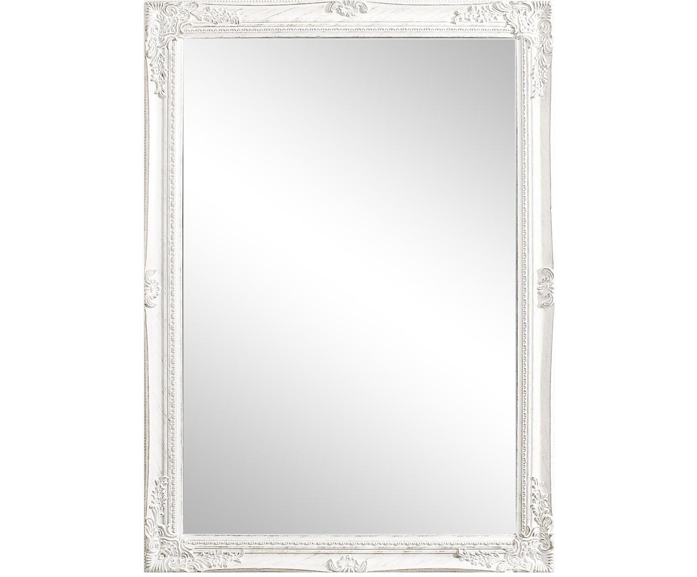 Lustro ścienne z drewnianą ramą Miro, Biały, S 72 x W 102 cm