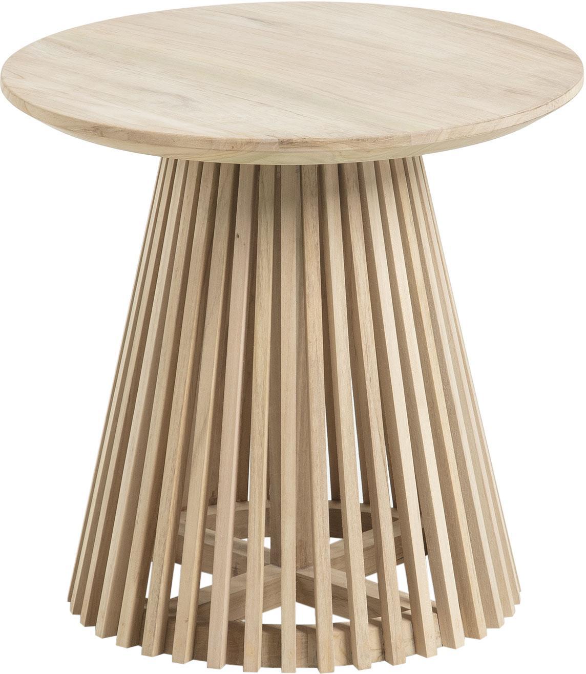 Okrągły stolik pomocniczy z drewna Jeanette, Drewno tekowe, Drewno tekowe, Ø 50 x W 48 cm
