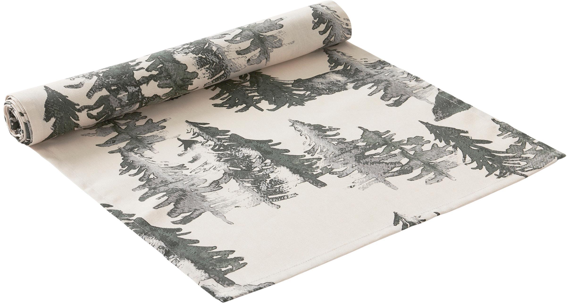 Tischläufer Forrest, 100% Baumwolle, aus nachhaltigem Baumwollanbau, Creme, Grün- und Grautöne, 40 x 140 cm