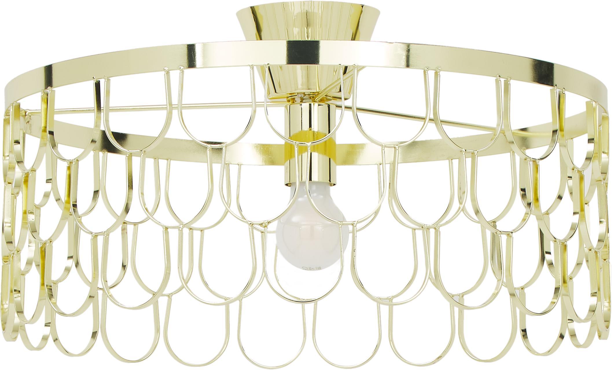Design plafondlamp Gatsby in goudkleur, Messing, Messingkleurig, Ø 50 x H 20 cm