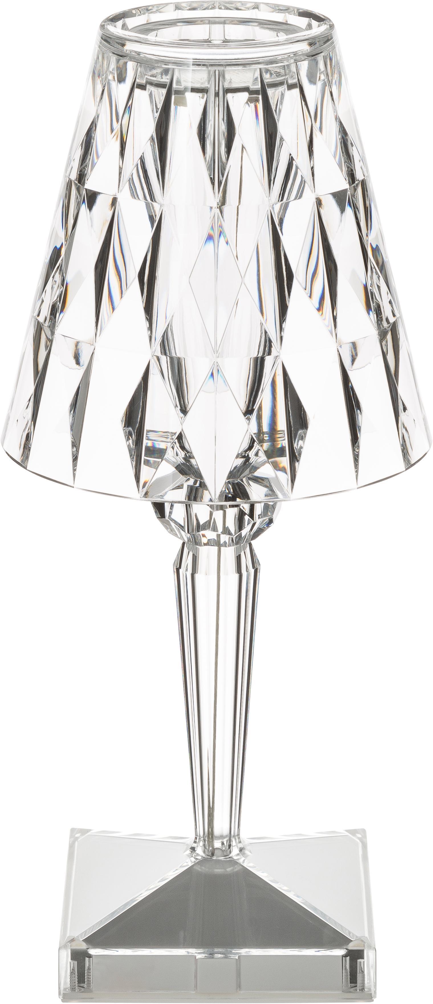 Lampa stołowa LED z tworzywa sztucznego Battery, Tworzywo sztuczne, Transparentny, Ø 12 x W 26 cm