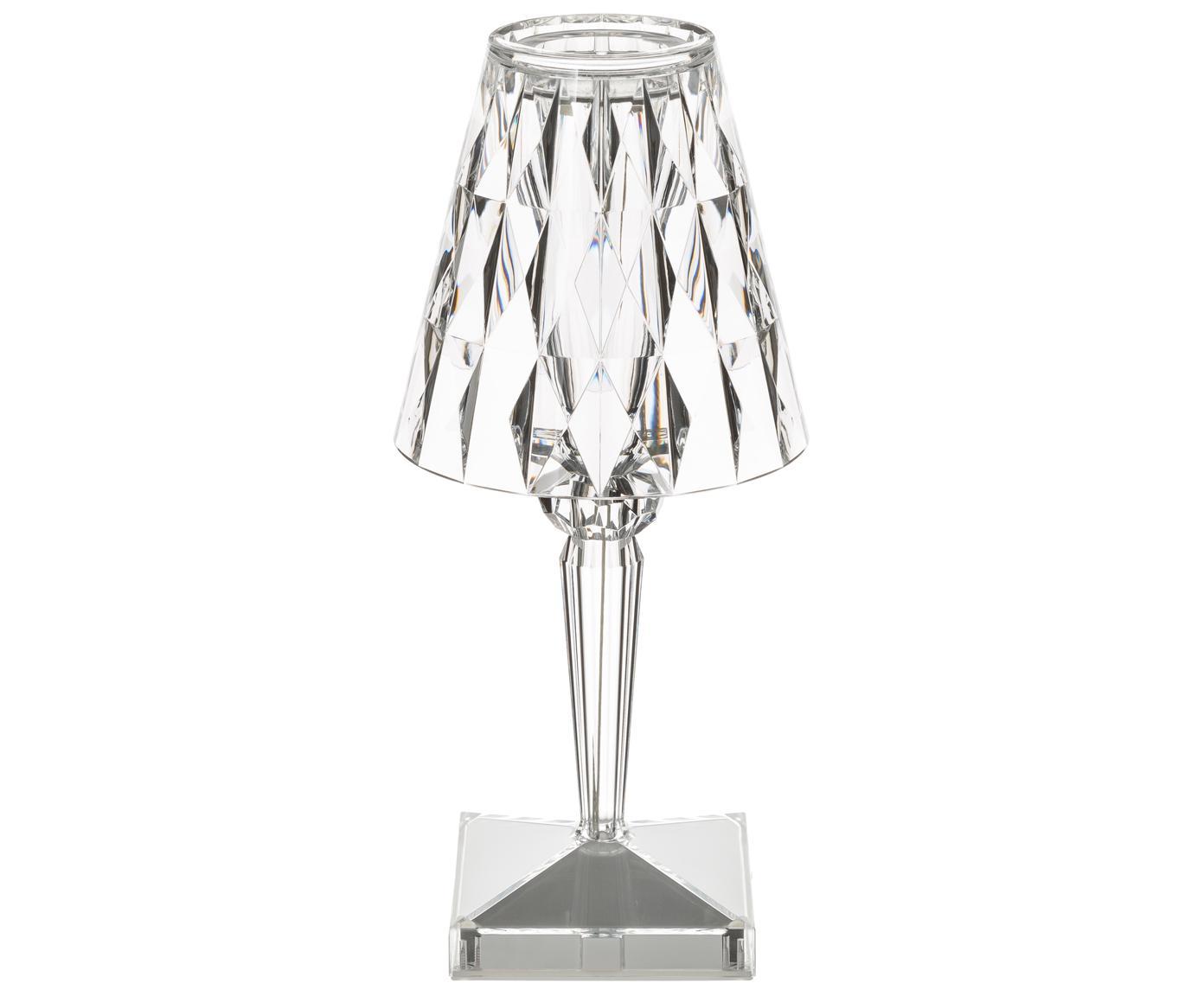 LED tafellamp Battery, Kunststof, Transparant, Ø 12 x H 26 cm