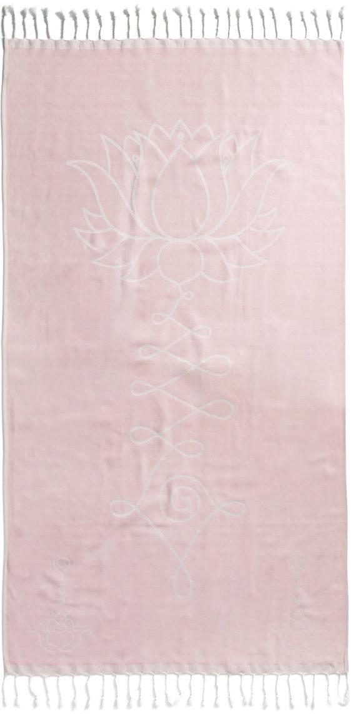 Hamamtuch Lotus, 100% Baumwolle leichte Stoffqualität, 210g/m², Rosa, Weiß, 90 x 180 cm