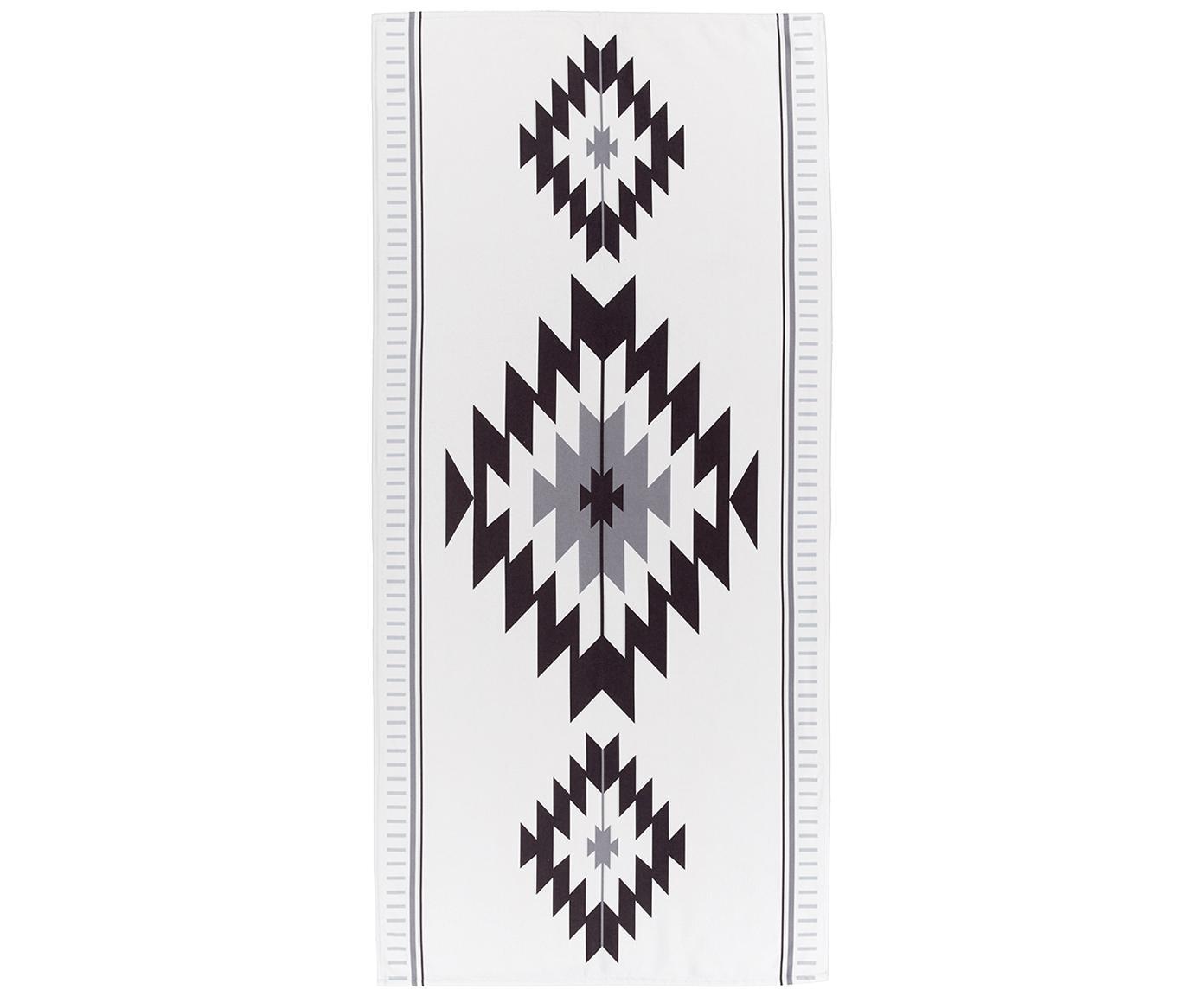Licht strandlaken Ikat in ethno stijl, 55% polyester, 45% katoen zeer lichte kwaliteit, 340 g/m², Crèmekleurig, zwart, grijs, 70 x 150 cm