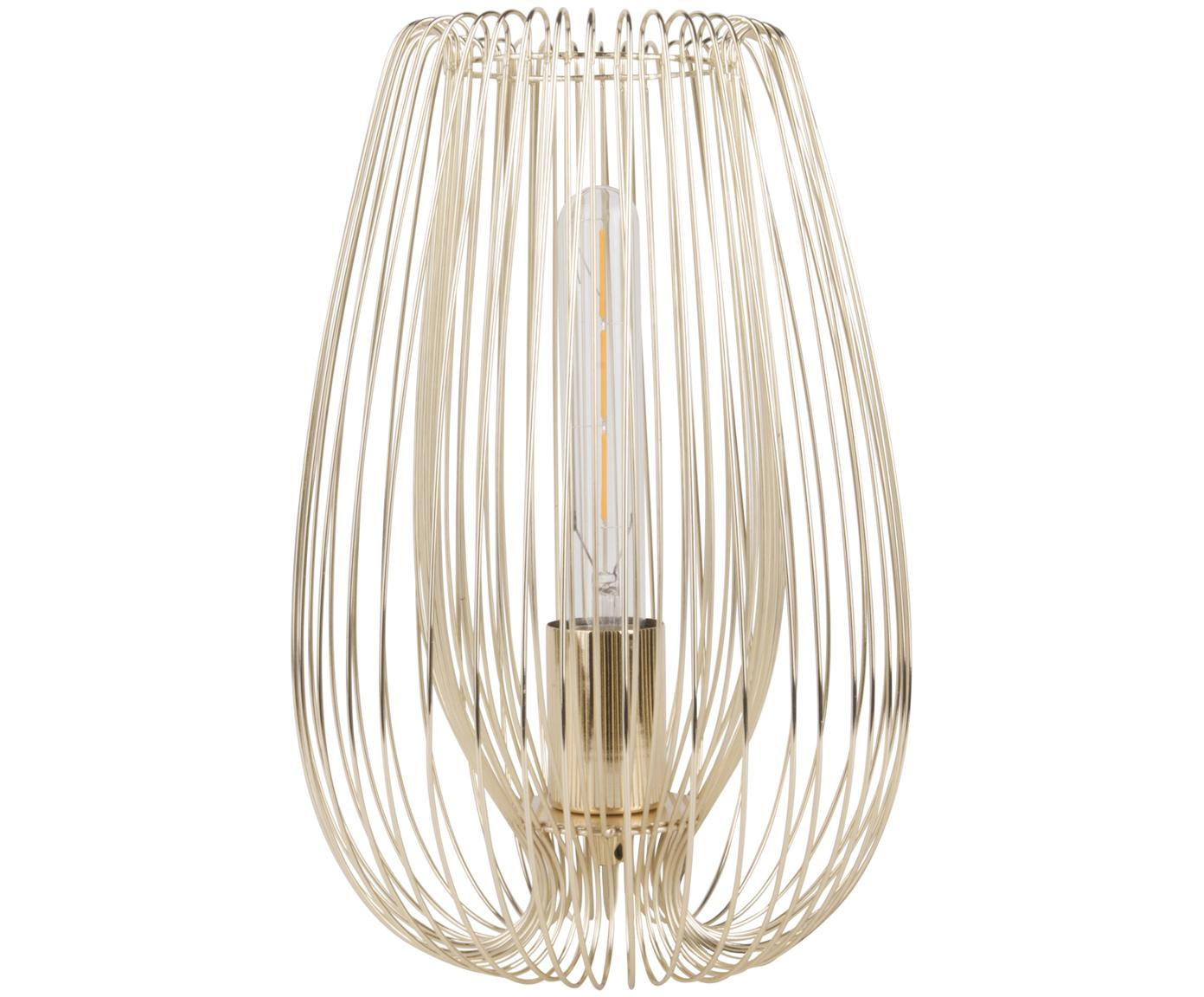 Retro tafellamp Lucid, Lamp: gelakt metaal, Messingkleurig, Ø 22 x H 33 cm