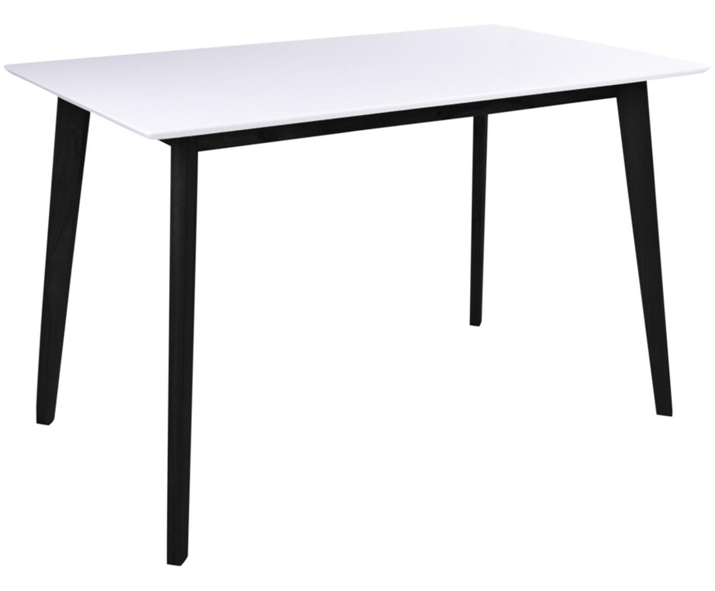 Tavolo con piano bianco Vojens, Piano d'appoggio: pannello di fibra a media, Piedini: legno di caucciù, Bianco, nero, Larg. 120 x Prof. 70 cm