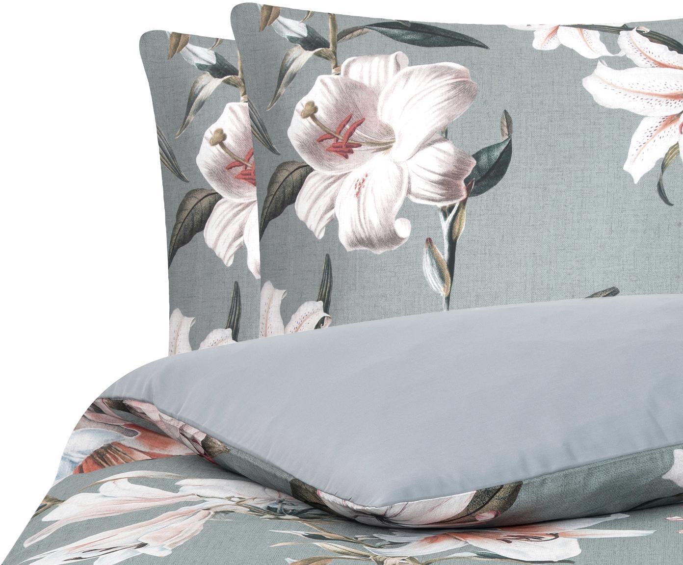 Baumwollsatin-Bettwäsche Flori mit Blumen-Print, Webart: Satin Fadendichte 210 TC,, Vorderseite: Blau, CremeweißRückseite: Blau, 200 x 200 cm + 2 Kissen 80 x 80 cm