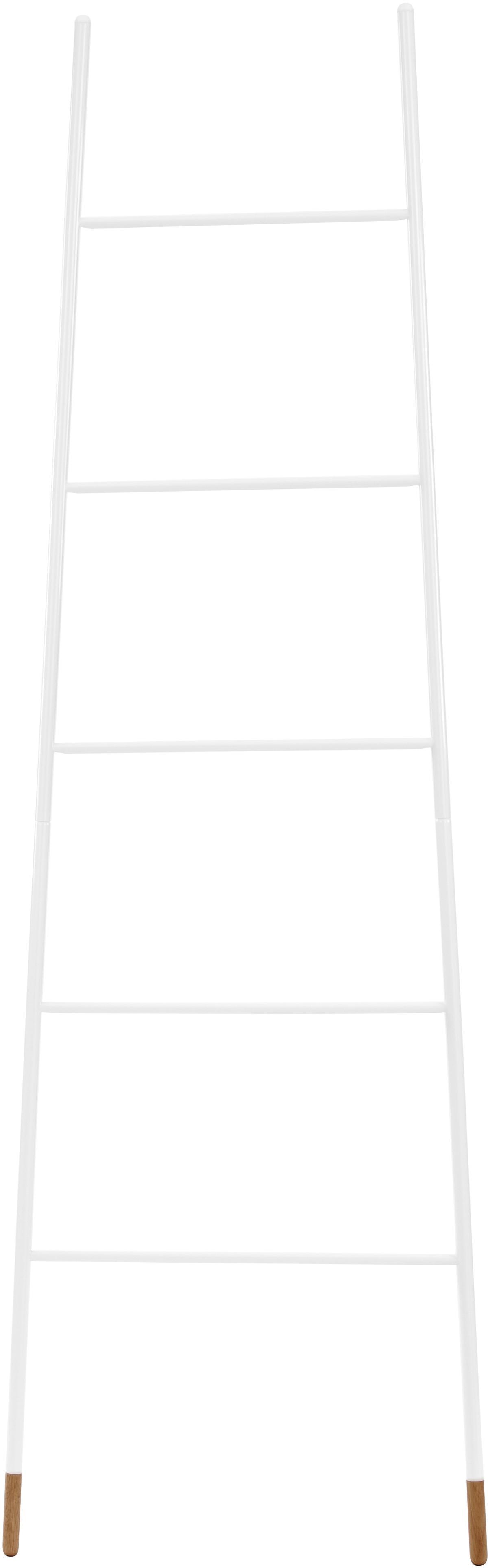 Scala portasciugamani in bianco Rack Ladder, Piedini: albero della gomma vernic, Bianco, Larg. 54 x Alt. 175 cm