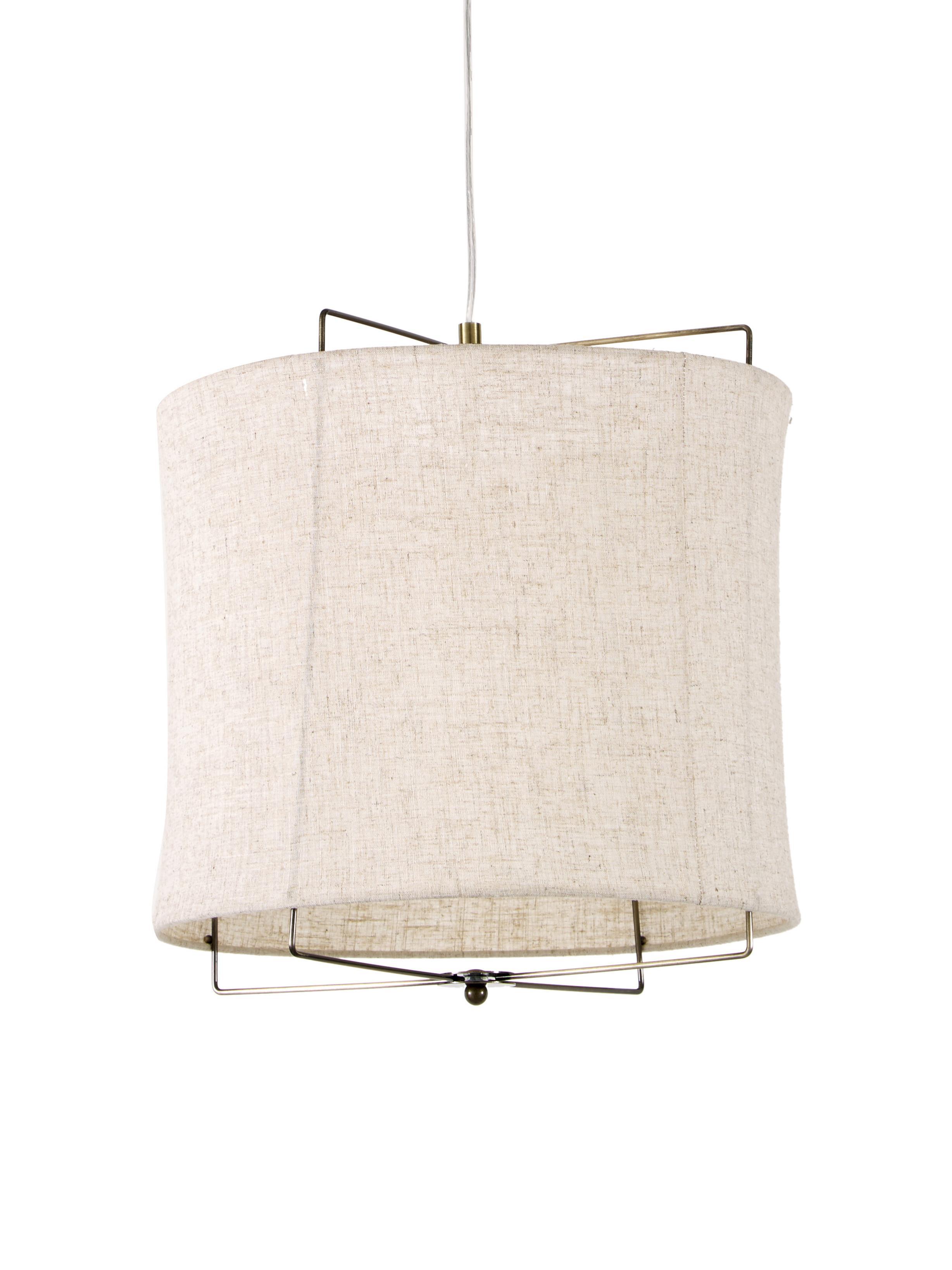 Lámpara de techo de lino Clouds, Pantalla: lino, Cable: plástico, Gris pardo, ∅ 40 x Al 40 cm
