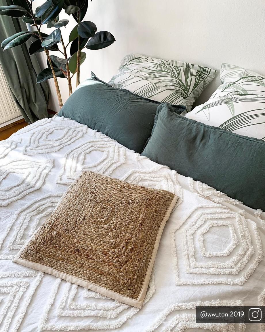 Colcha bordada Faye, 100%algodón, Blanco, An 160 x L 200 cm