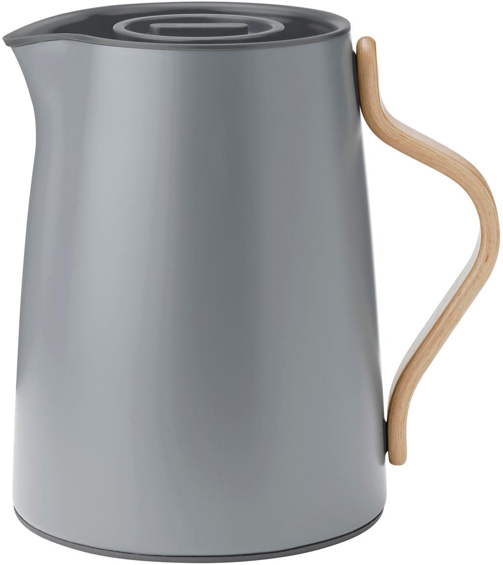 Teezubereiter Emma in Grau matt, Korpus: Stahl, Beschichtung: Emaille, matt, Griff: Buchenholz, Grau, matt, 1 L
