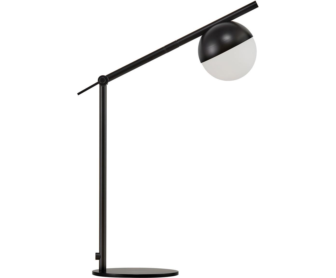 Lámpara de escritorio con vidrio opalino Contina, Pantalla: vidrio opalino, Blanco, negro, An 15 x Al 49 cm