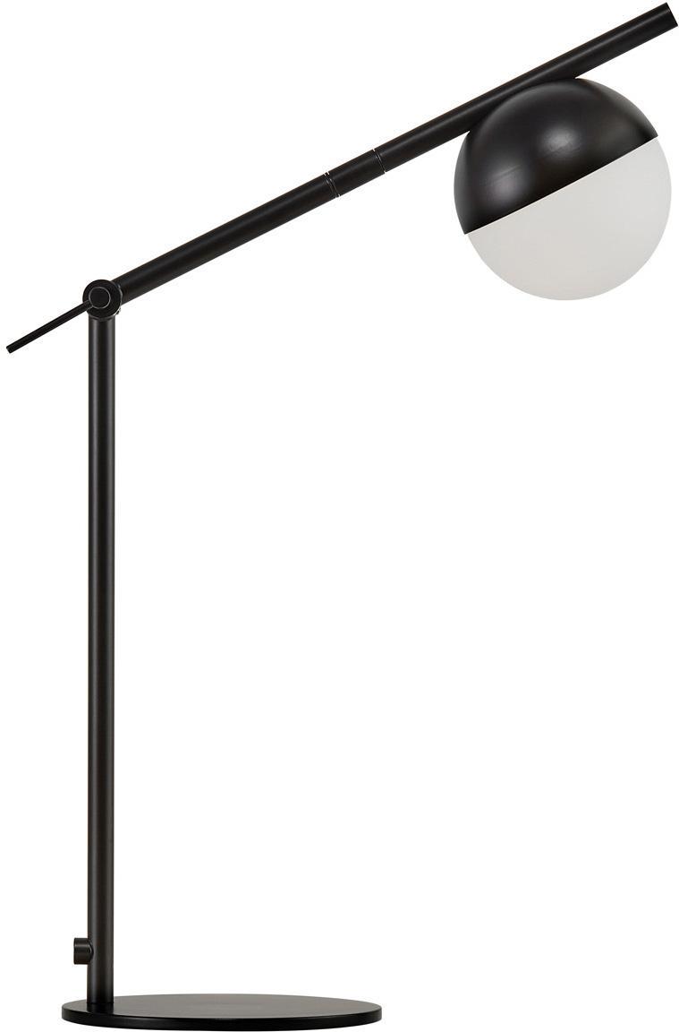 Lampa biurkowa ze szkła opalowego Contina, Biały, czarny, S 15 x W 49 cm